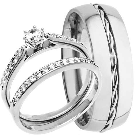 Men's Rope TITANIUM Band and Women's STERLING SILVER