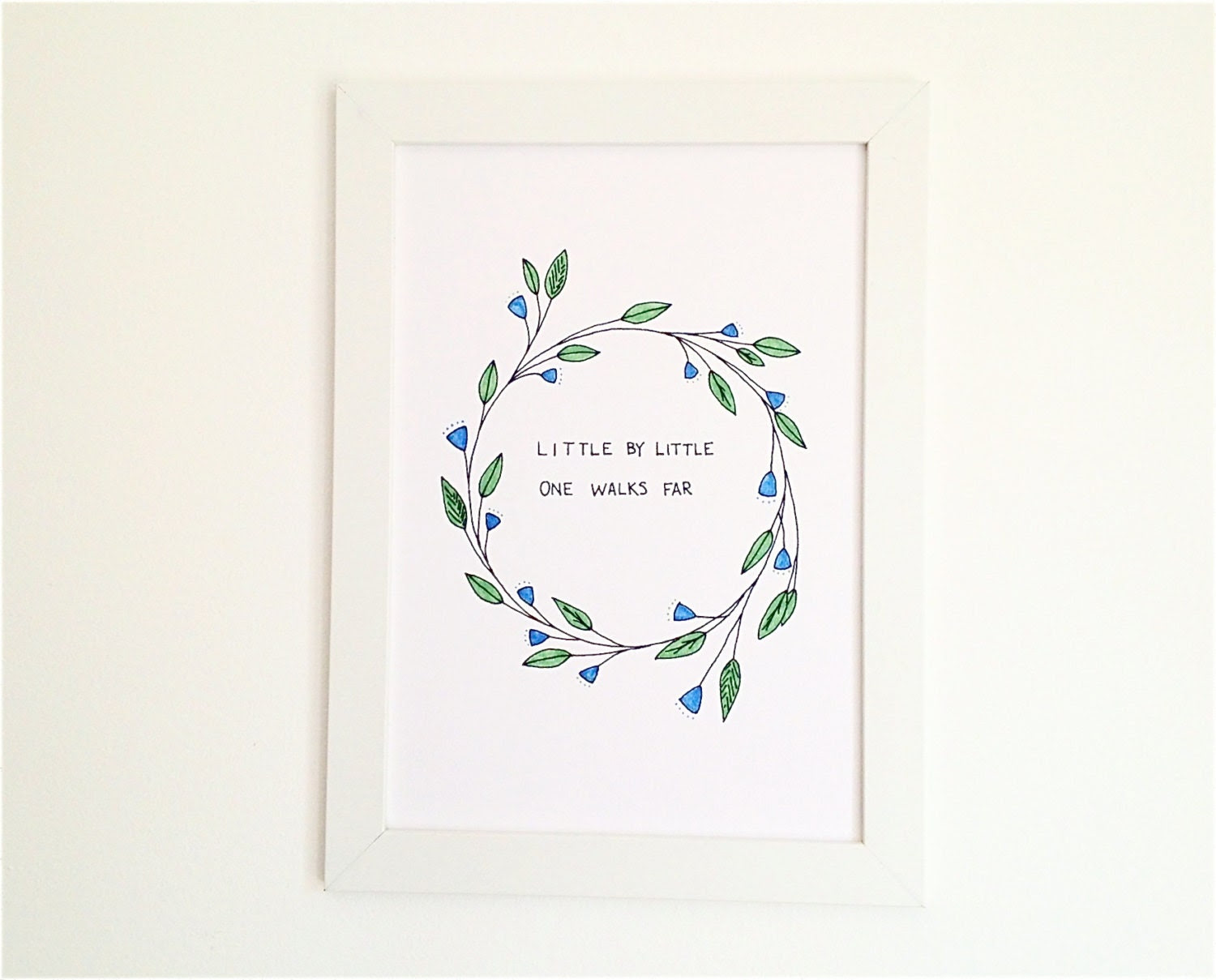 Nursery Wall Art with Inspirational Quote, Botanical Illustration in Green and Blue
