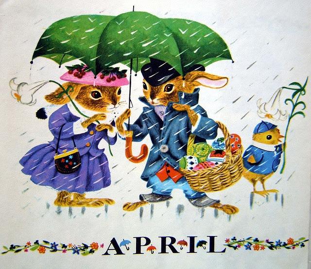 Vintage Calendar, April, illustrated by Richard Scarry