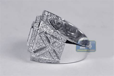14K White Gold 4.18 ct Iced Out Diamond Mens Ring