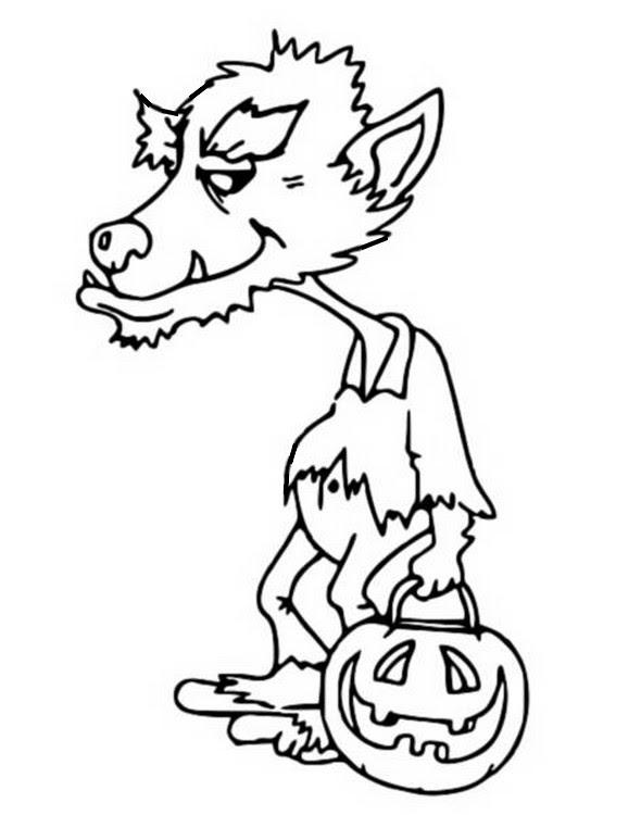 Coloriage Halloween Loup Garou 18