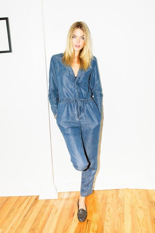Le Fashion Blog Model Martha Hunt Fall Chambray Jumpsuit  Mule Flats Via The Coveteur