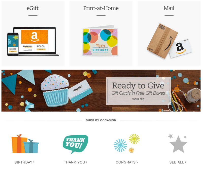 Gift cards from Amazon