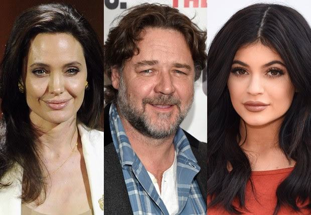Angelina Jolie, Russell Crowe e Kylie Jenner (Foto: Getty Images)