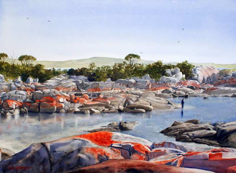 Bay Of Fires Tasmania By Joe Cartwright, Watercolor Painting