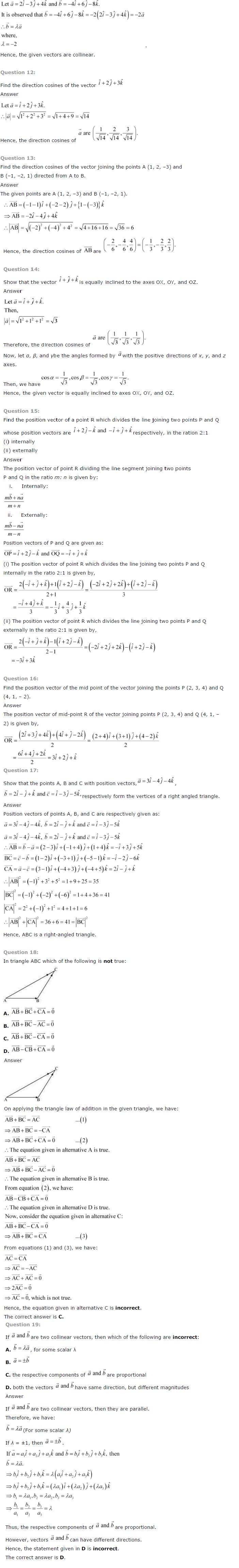 NCERT Solutions for Class 12 Maths Chapter 10 Vector Algebra ex10.2