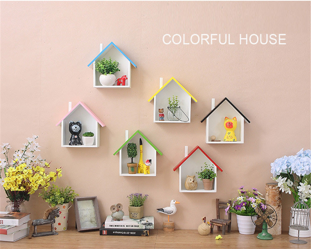 Home Decor Wall Hanging Shelf American Style Pastoral Wood