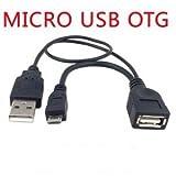 Galaxy/NOTE/スマホ用 OTGケーブル micro USB-USB A メス USB機器給電端子付