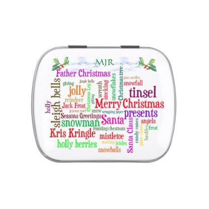 Monogram Christmas word collage and snowscene Jelly Belly Candy Tin