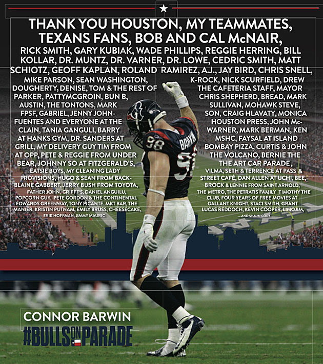 Connor Barwin thanks bread, cheesecake and 'Mohawk Steve' as he leaves Texans (Photo)