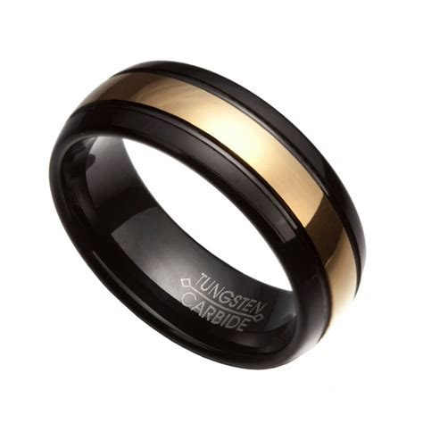 Men's 8mm Black & Gold Tungsten Carbide Comfort Fit