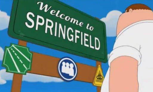 Falando de pirâmide e olho que tudo vê, aqui está um screenshot da abertura dos Simpsons e Family Guy episódio.  Sinais Cidade em os EUA indicam por vezes a presença de lojas maçônicas locais, mas, neste caso, parece ser um lodge Illuminati ...