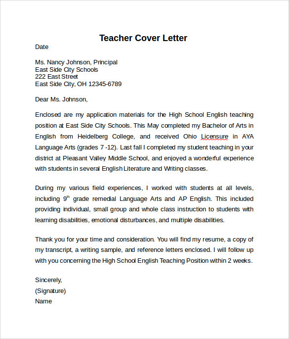 Simple Teacher Cover Letter Example