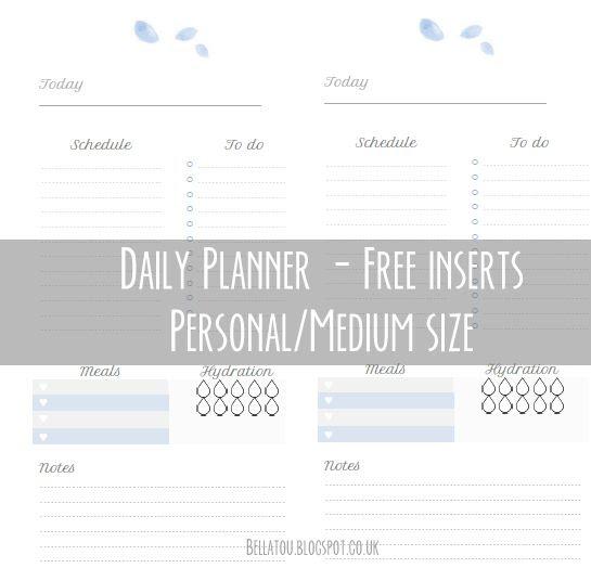 Free Daily Planner inserts, medium/personal size. Kikki K, Filofax ...