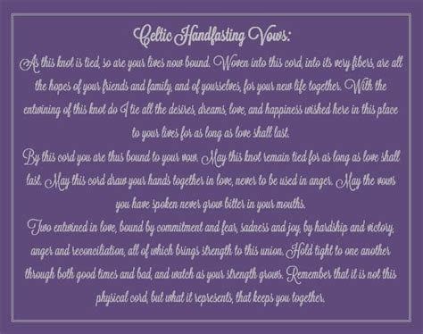 Handfasting Ceremony Vows   Celtic Handfasting Vows