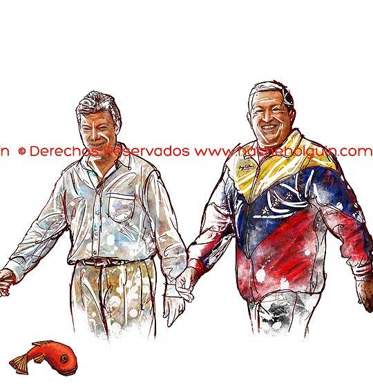 Retrato Juan Manuel Santos y Hugo Chávez.