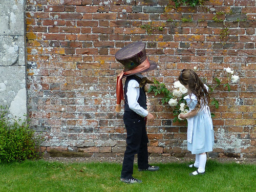 Inspecting the white roses
