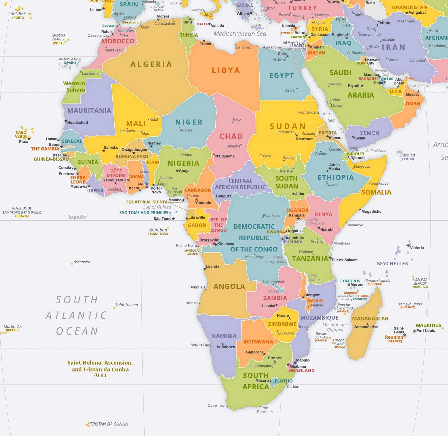 Afrika Karte Staaten.Afrika Karte Länder Und Hauptstädte Karte