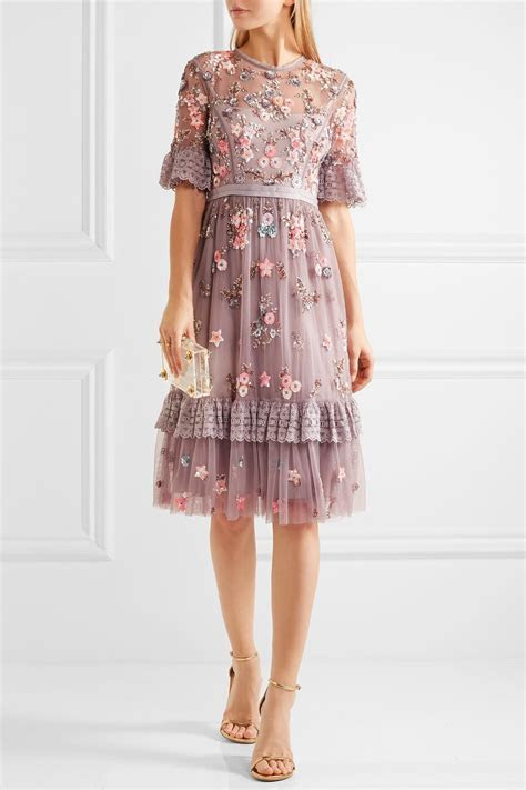 Needle & Thread Embellished Embroidered Tulle Dress in