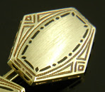 Frank Krementz Art Deco enamel cufflinks crafted in 14kt gold. (J9026)