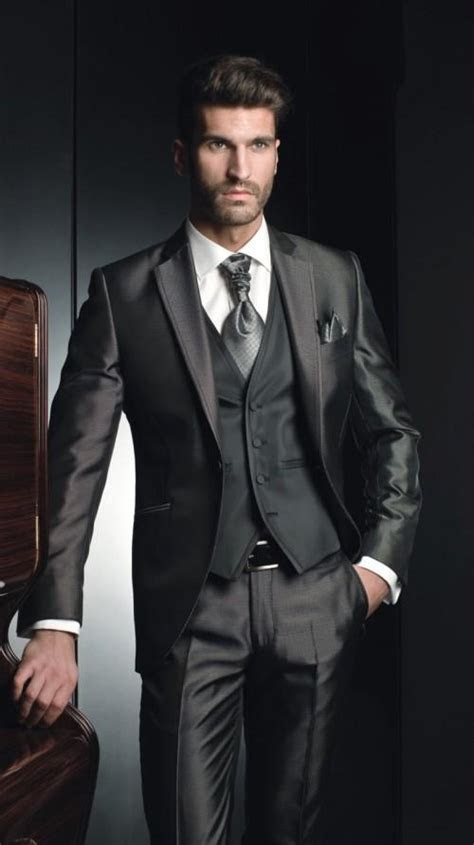 Newest Groom Tuxedo Shiny Dark Grey Groomsmen Notch Lapel