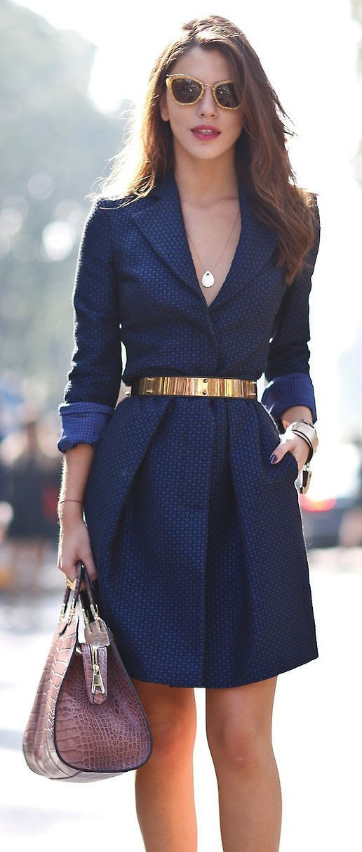 blue dress with hand bag