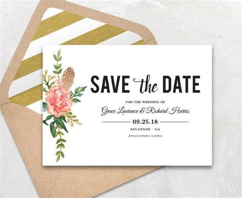 Save The Date Template, Floral Save The Date Card, Boho