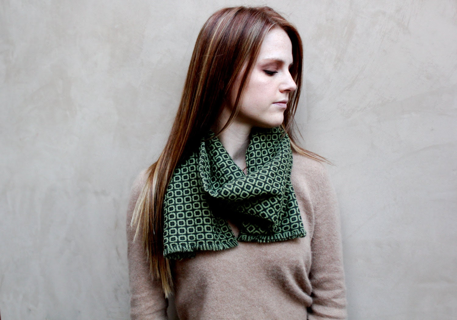 Traditional Scarf, Wrap Scarf, Green, Checkered