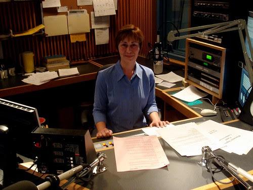 In the Wisconsin Public Radio studio.