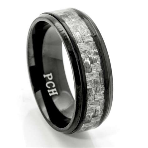 Black Titanium Men's Wedding Band, Ring 8MM Gray Carbon