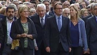 Rigau, Mas i Ortega en una imatge d'arxiu dirigint-se al TSJC per declarar pel 9-N