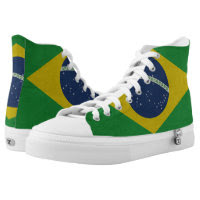 Illustration of abstract grunge flag of Brazil Printed Shoes