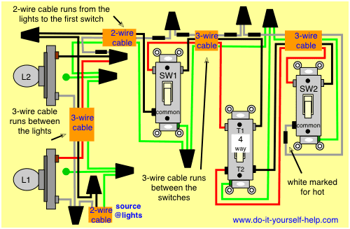 Wiring Diagram For 3 Way Switches Multiple Lights