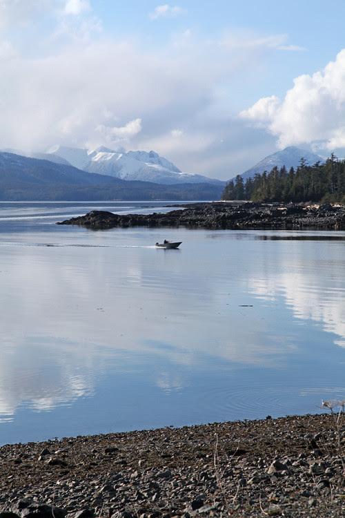 a small boat pulls into Kasaan, Kasaan, Alaska