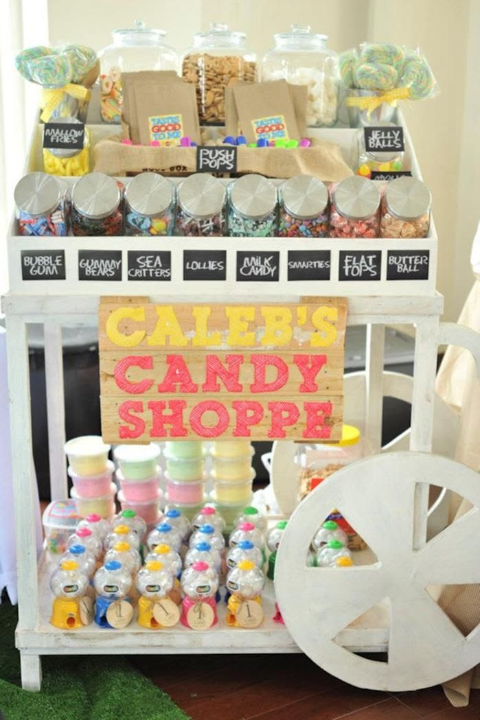 Great inspiration for an all candy party - make it look like an old time candy shoppe! #candyland #party #birthday