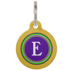 Pet ID Tag - Gold Green & Purple with Monogram - customize with your pet's info