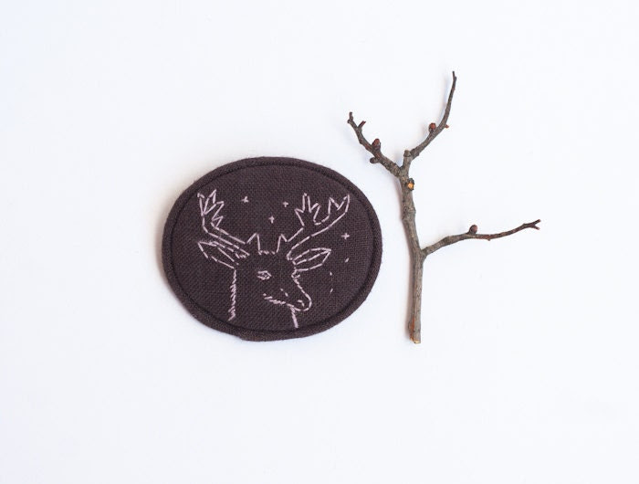 Deer Brooch Minimalist Embroidered Christmas Animal Pin Totem Modern Indie Chocolate Brown Pale Violet