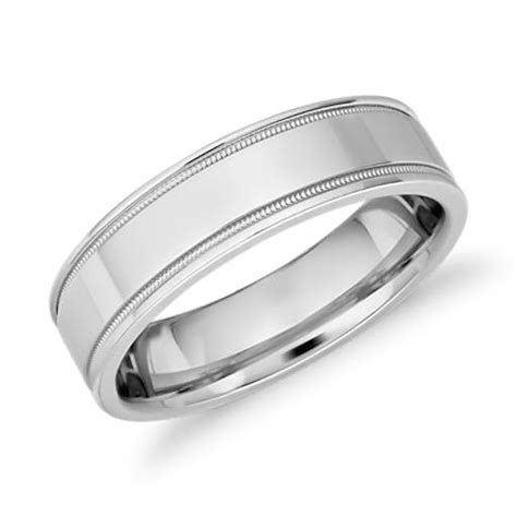 Monique Lhuillier Milgrain Inlay Polished Band in Platinum