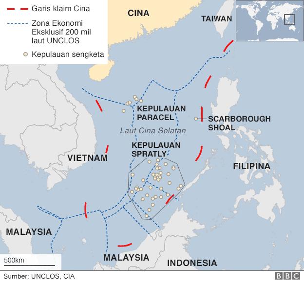 peta klaim di laut cina selatan