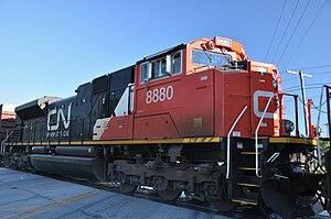 CN 8880 rolls past Wood Street Crossing in Harvey