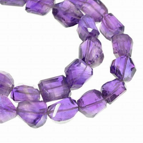 s22213 Stone Beads - 10 x 7 mm Faceted Nugget - Amethyst (strand)