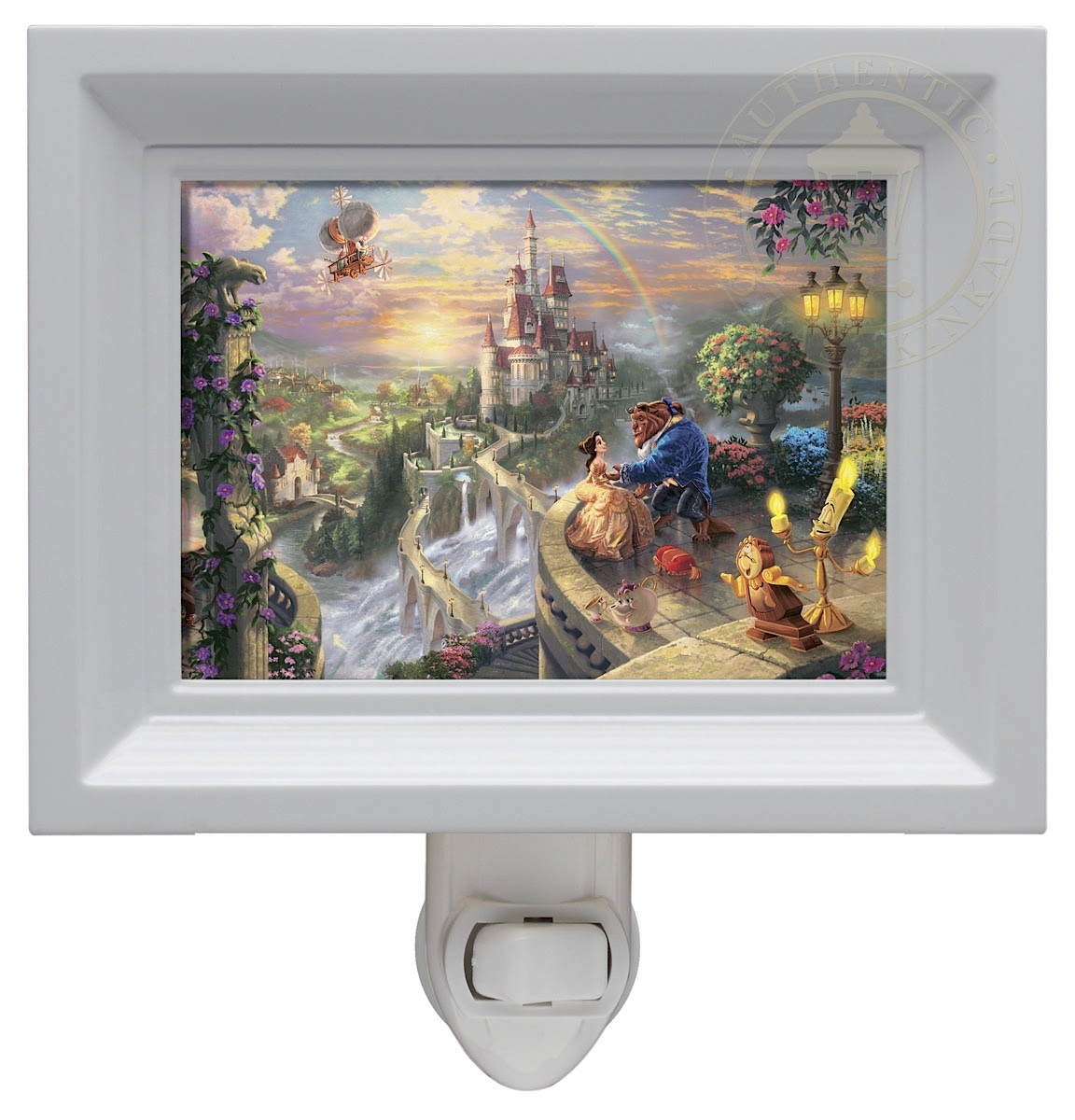 Beauty And The Beast Falling In Love Nightlight White Frame