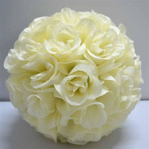 Artificial Silk Kissing Open Roses Flower Ball Ivory/cream
