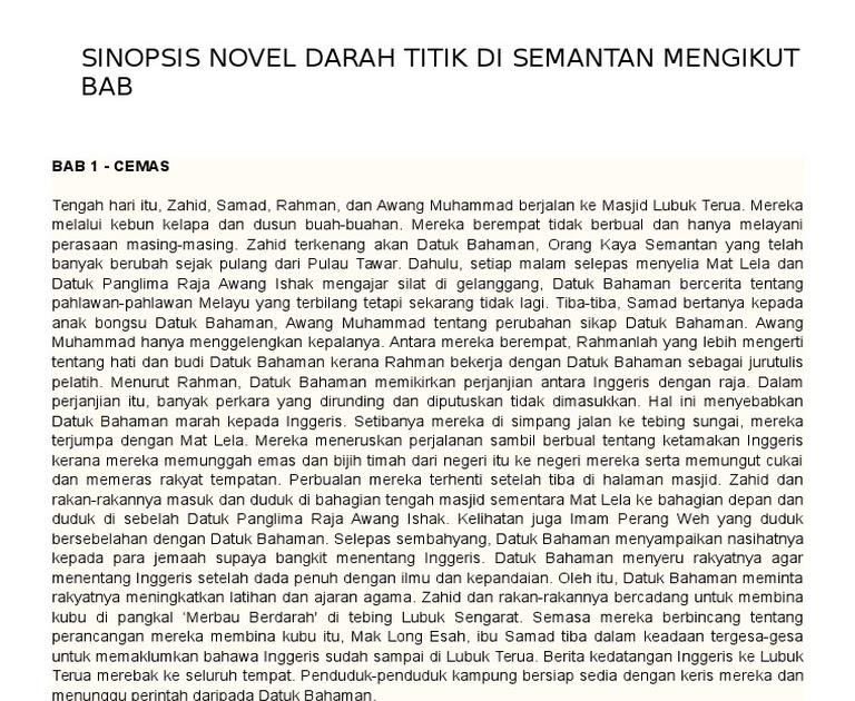 Contoh Soalan Novel Darah Titik Di Semantan - Contoh Itu