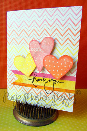 Zig ZAg  thank you hearts pink/orange full