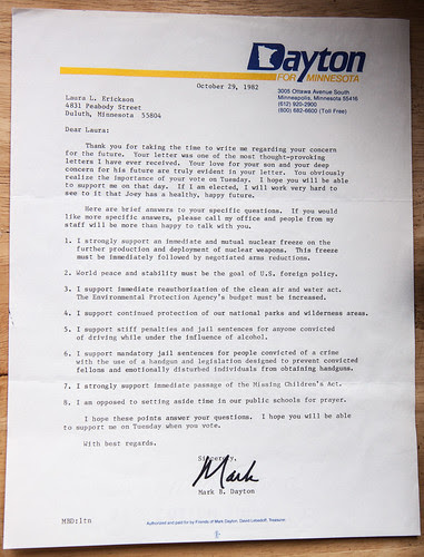 1982 Letter from Mark Dayton