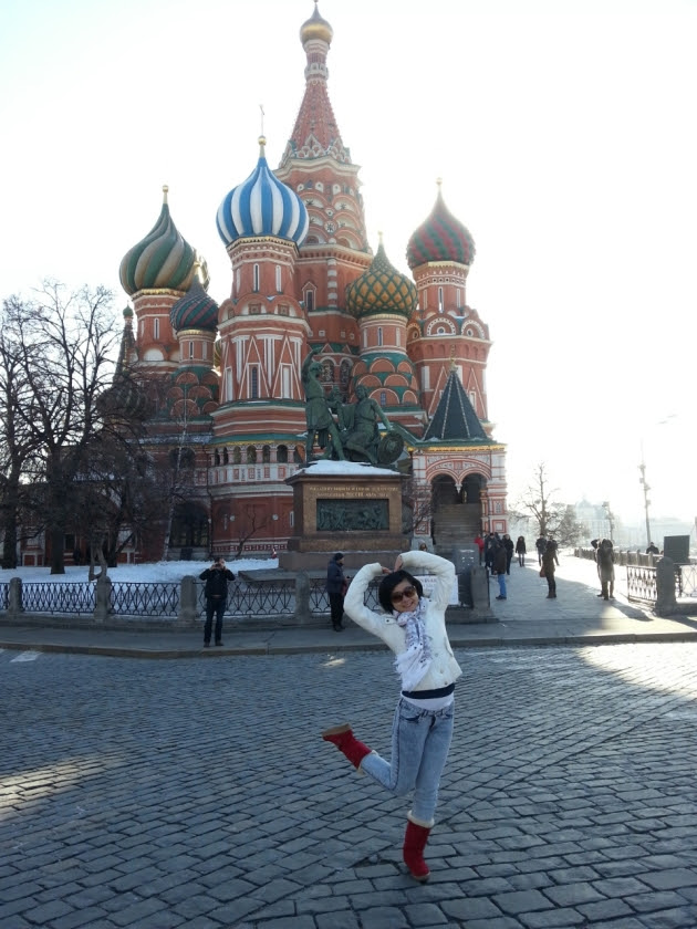 Me and my red boots in the Red Square, Moscow Russia