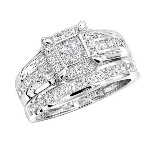 Cheap Engagement Ring Sets 1 Carat Diamond Bridal Ring Set