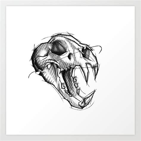 tiger skull handmade drawing   pencil charcoal