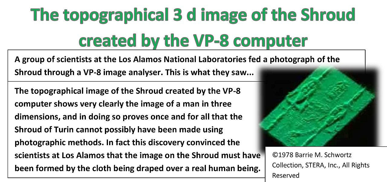 The topographical 3 d image of the Shroud created by the VP-8 computer.